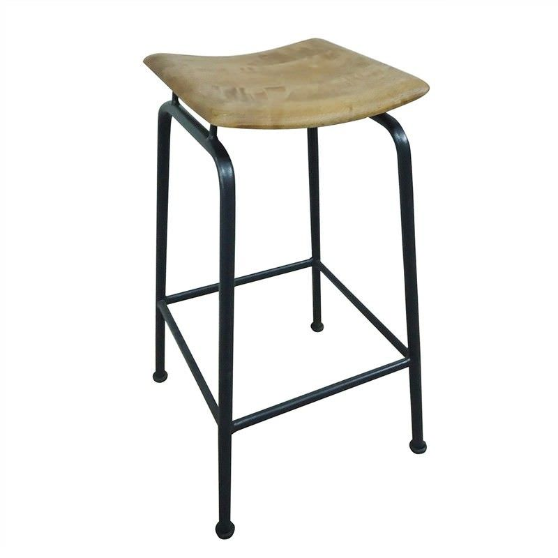 Sheran Metal Counter Stool with Timber Seat