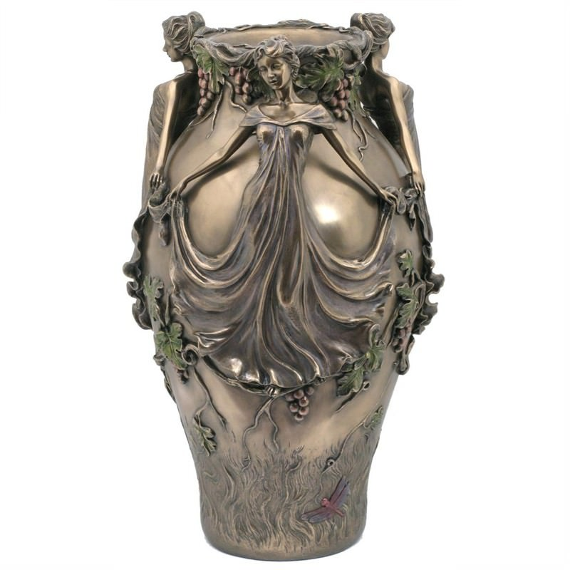 Cast Bronze Three Ladies Vase