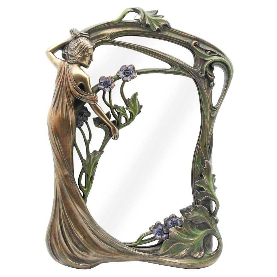 Veronese Cold Cast Bronze Coated Lady with Purple Flowers Table / Wall Mirror, 34cm