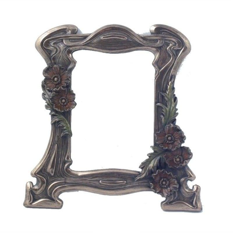 Veronese Cold Cast Bronze Coated Poppy Flower Photo Frame