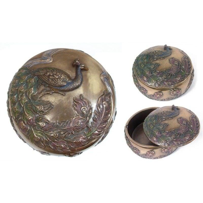 Cast Bronze Peacock Trinket Box