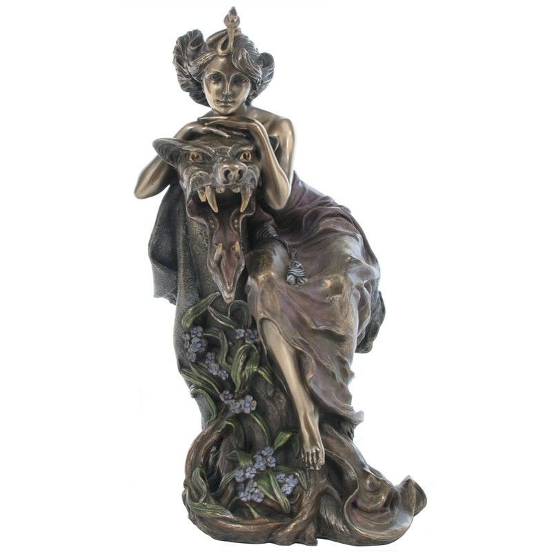 Cast Bronze Figurine of Mucha Lady and Beast