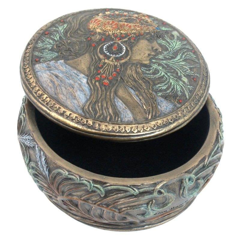 Cast Bronze Mucha Round Trinket Box