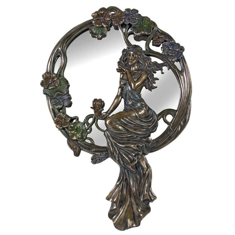 Cast Bronze Lady Sitting on Rattan Round Wall Mirror