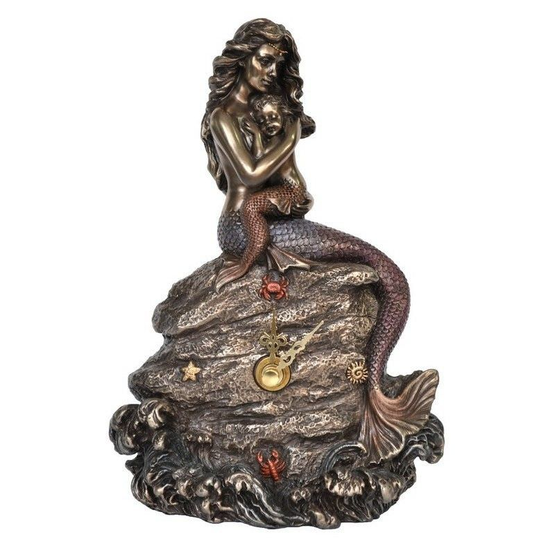 Cast Bronze Mermaid Table Clock