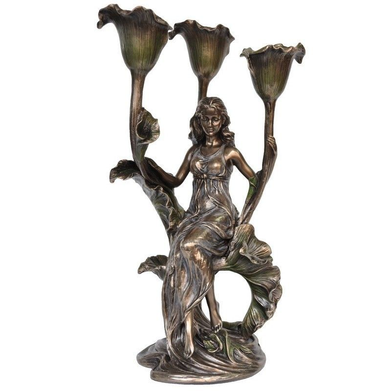 Veronese Cold Cast Bronze Coated Flower & Beauty Candle Holder, Calla Lily