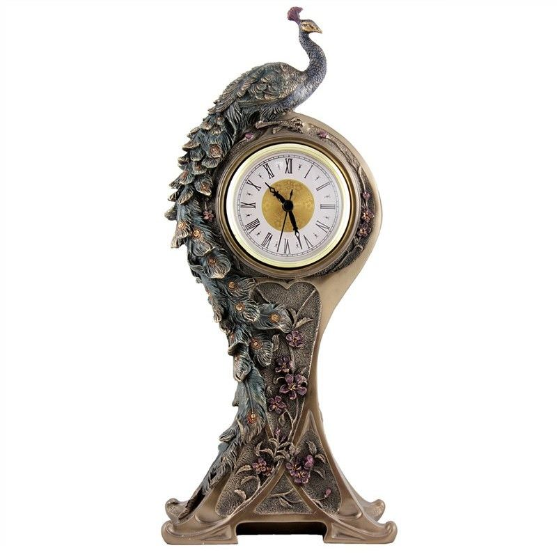 Veronese Cold Cast Bronze Coated Peacock Table Clock