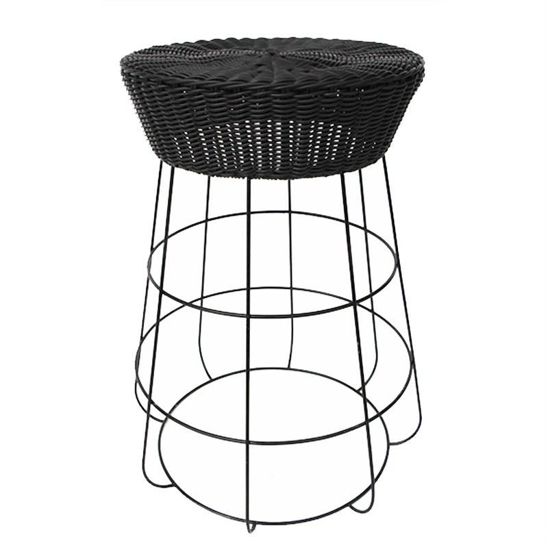 Mia Indoor/Outdoor Metal Wire Counter Stool with Poly Rattan Seat, Black