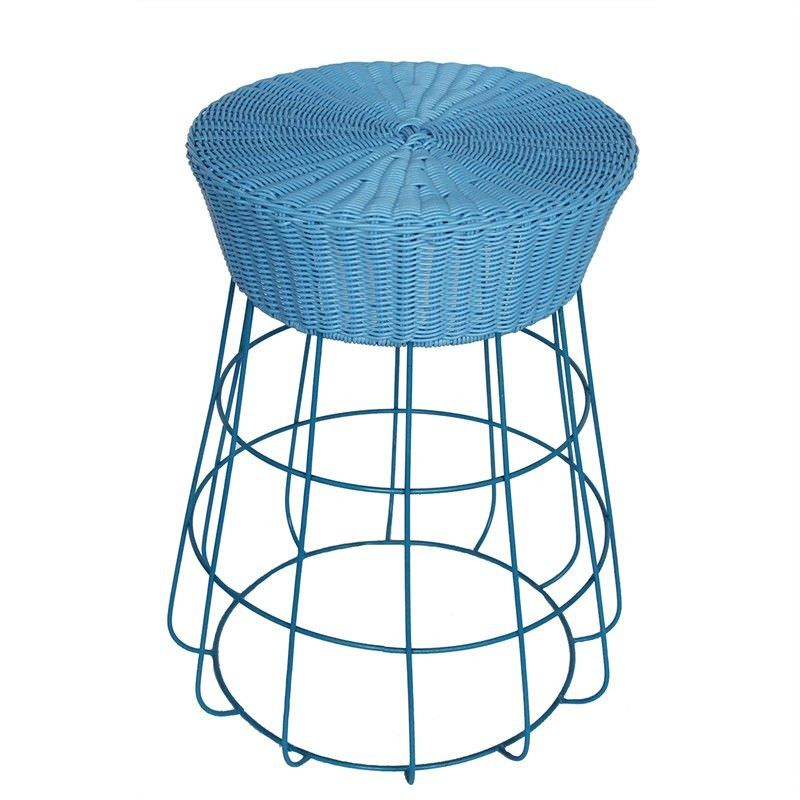 Mia Indoor/Outdoor Metal Wire Counter Stool with Poly Rattan Seat, Blue