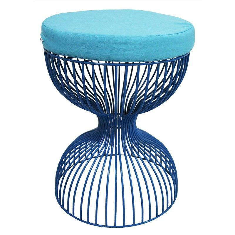 Charlotte Hourglass Metal Wire Table Stool with Seat Cushion, Blue
