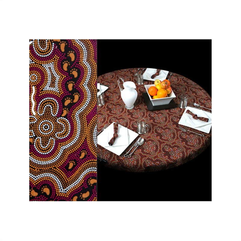 On Walkabout  Aboriginal Round Tablecloth In Wine