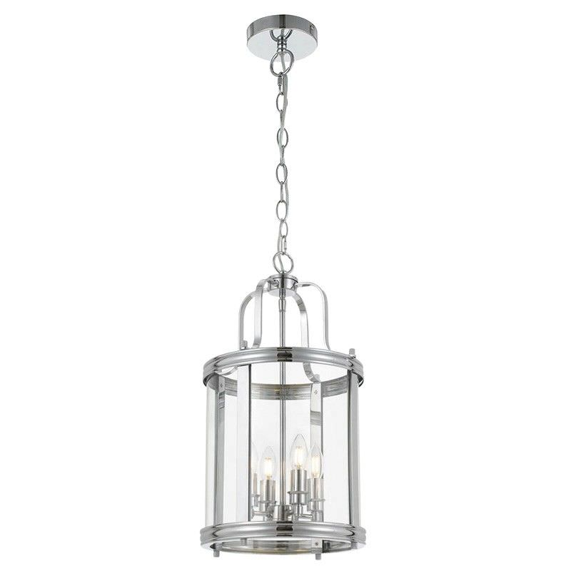 Newark Metal & Glass Pendant Light, Medium, Chrome