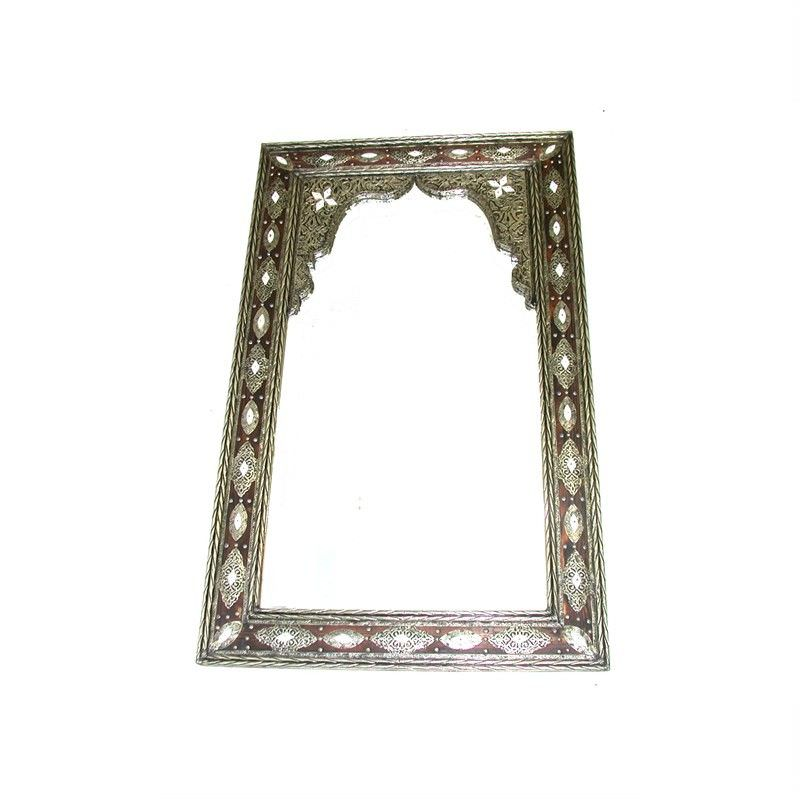 Moroccan Metal Covered wooden Mirror with Arch