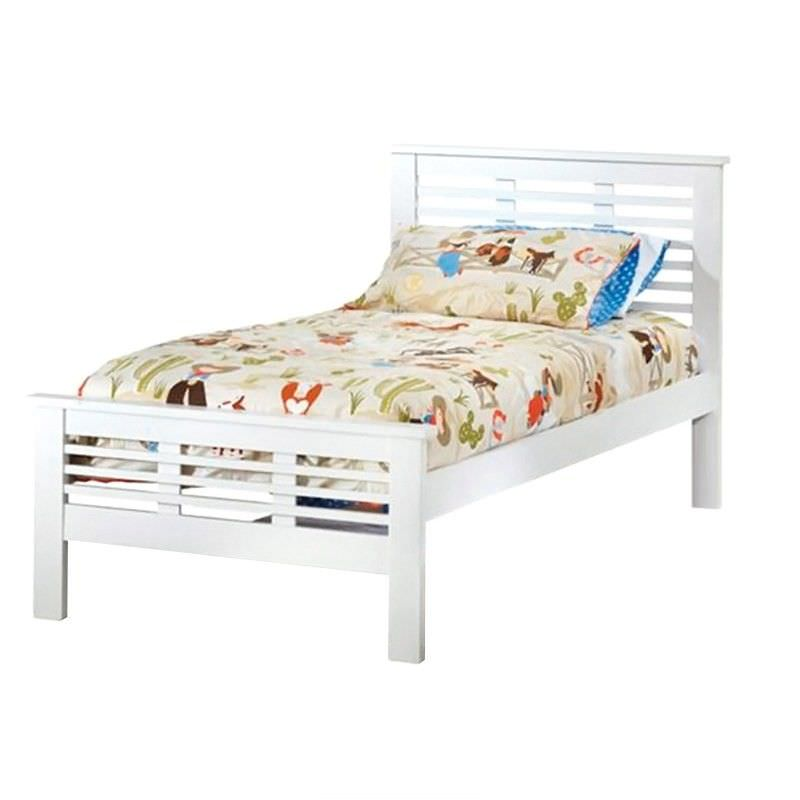 Nikki Solid New Zealand Pine Timber King Single Bed - White