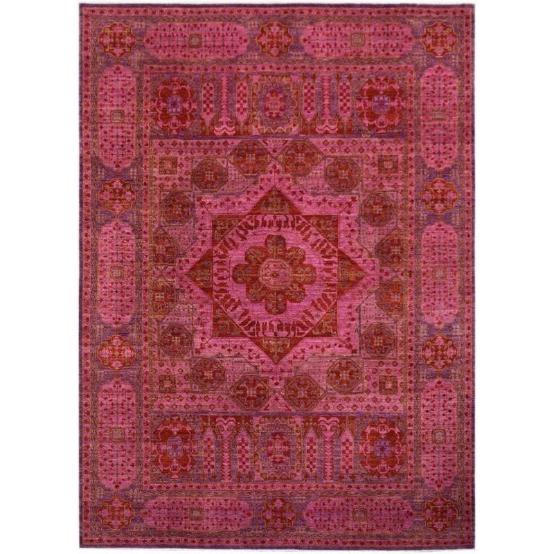 One of A Kind Aayan Hand Knotted Wool Afghan Mamluk Rug, 341x253cm