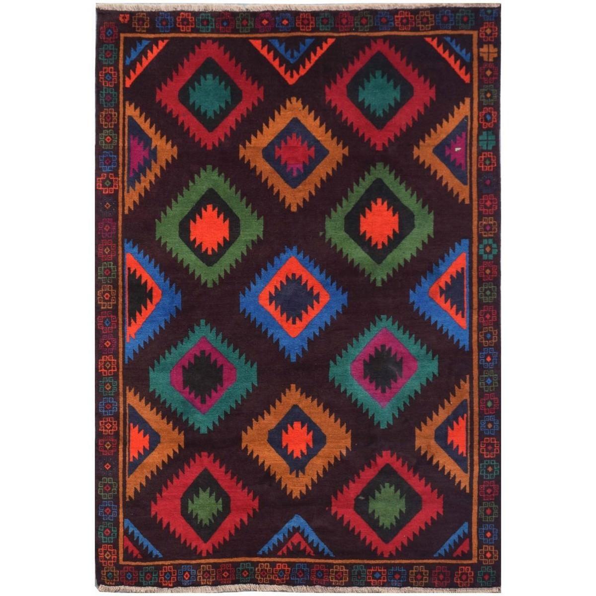 One of A Kind Sahar Hand Knotted Wool Afghan Kilim Rug, 280x208cm