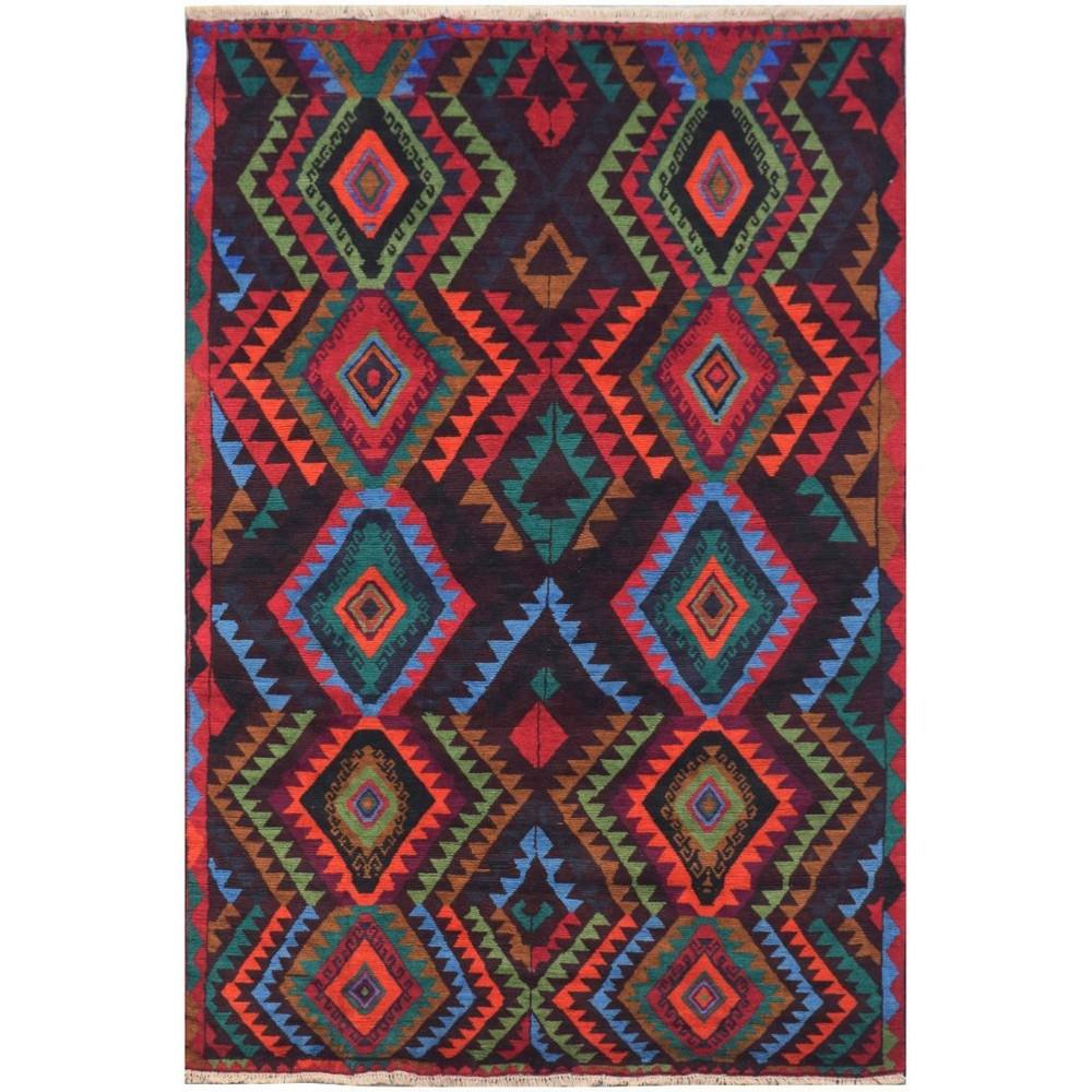 One of A Kind Tristan Hand Knotted Wool Afghan Kilim Rug, 278x189cm, Brown