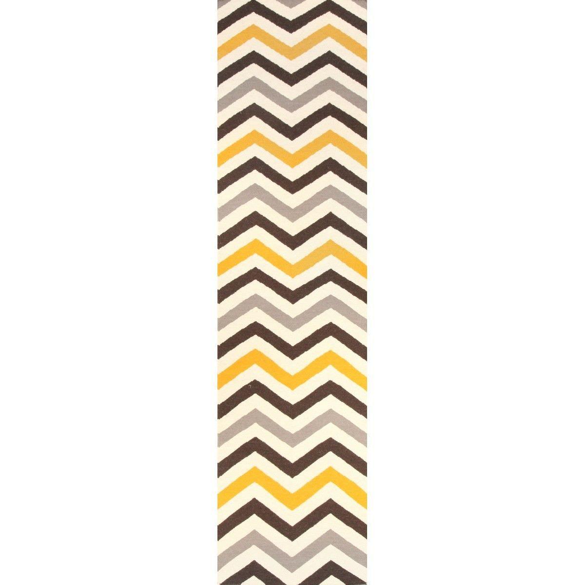 Nomad Chevron Flat Woven Wool Runner Rug, 400x80cm, Yellow / Brown