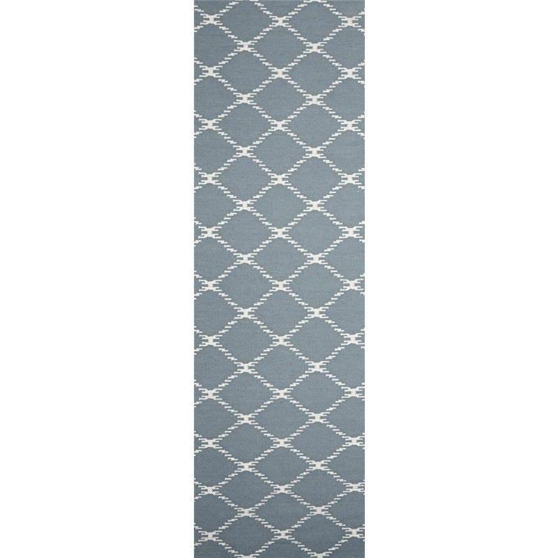 Nomad Hand Knotted Weave Stitch Design Woolen Rug Runner in Blue - 300x80cm