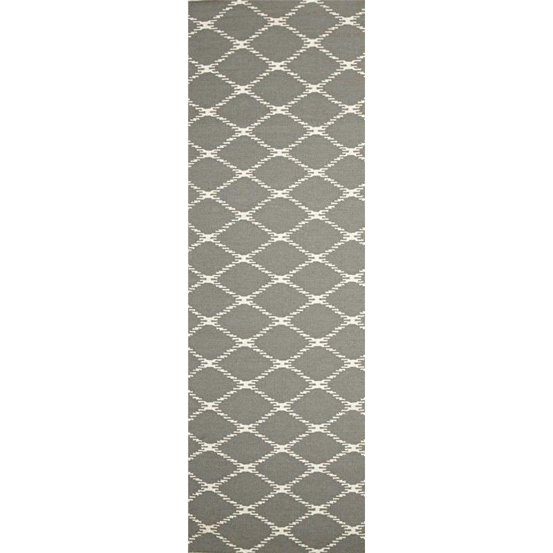 Nomad Hand Knotted Weave Stitch Design Woolen Rug Runner in Grey - 400x80cm