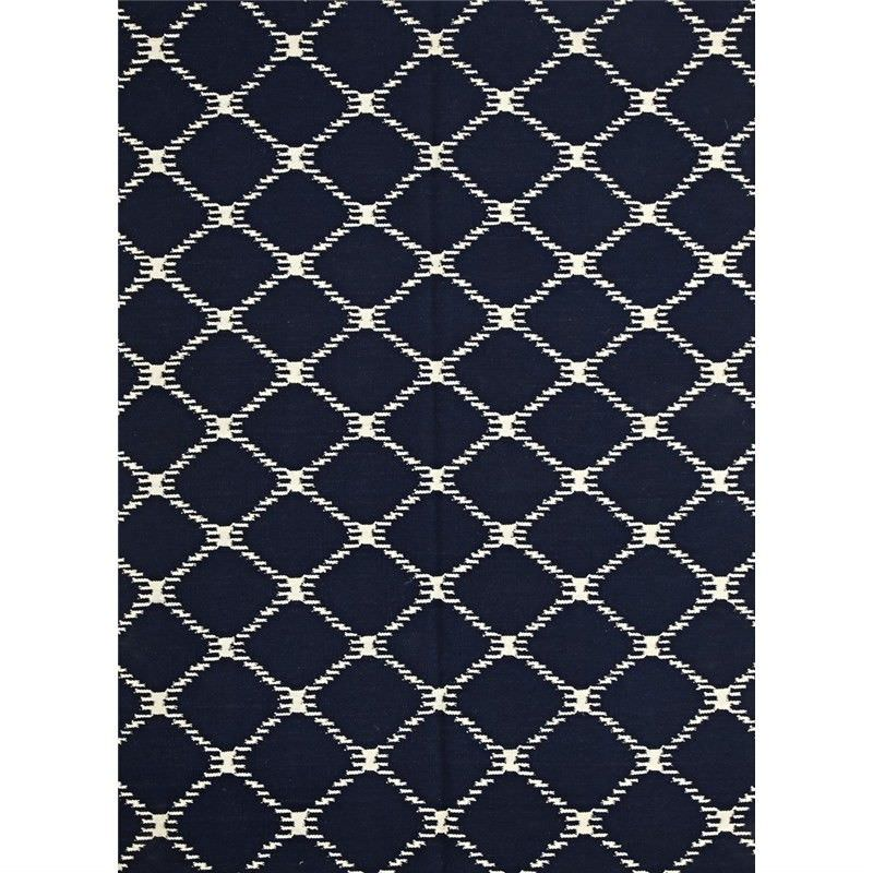Nomad Hand Knotted Weave Stitch Design Woolen Rug in Navy - 280x190cm