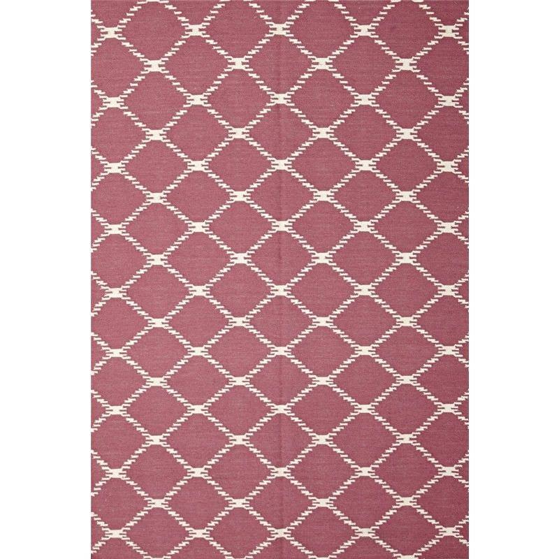 Nomad Hand Knotted Weave Stitch Design Woolen Rug in Pink - 225x155cm