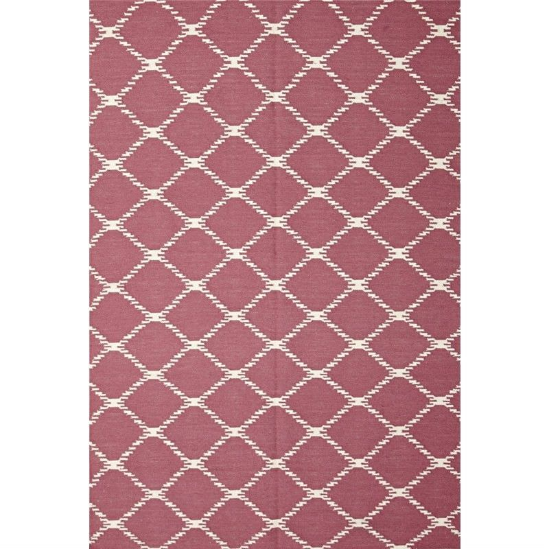 Nomad Hand Knotted Weave Stitch Design Woolen Rug in Pink - 280x190cm