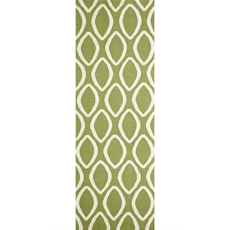 Nomad Hand Knotted Weave Oval Print Woolen Rug Runner in Green - 300x80cm