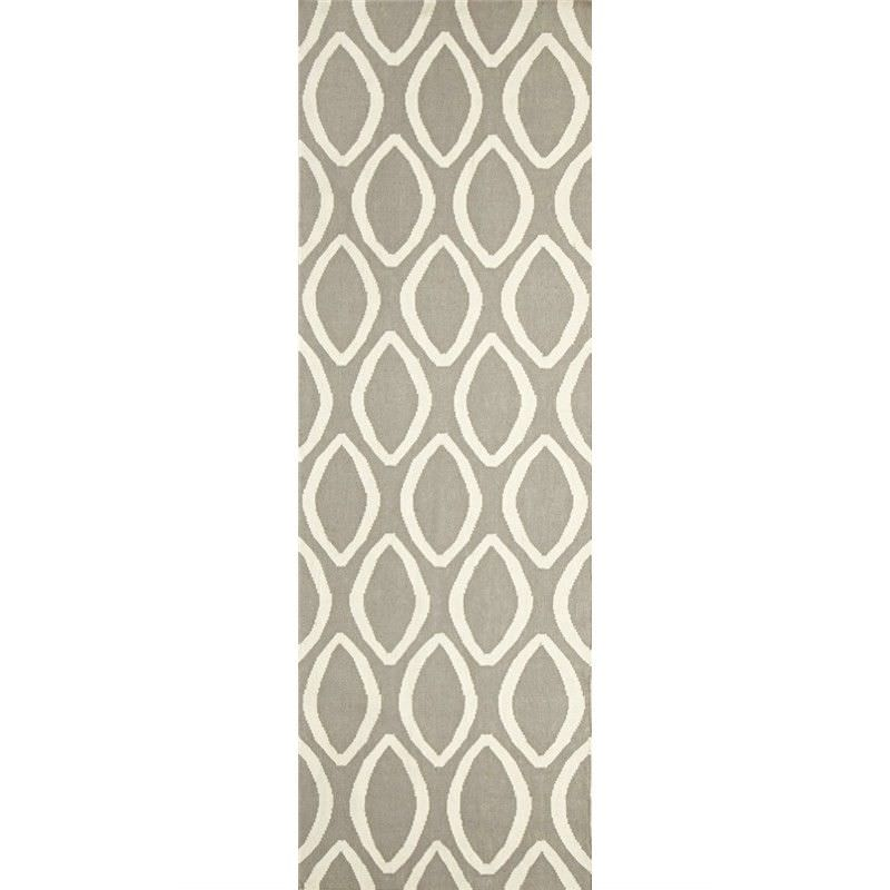 Nomad Hand Knotted Weave Oval Print Woolen Rug Runner in Grey - 400x80cm