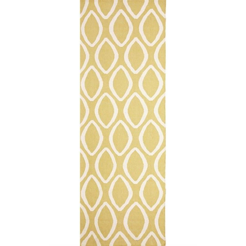 Nomad Hand Knotted Weave Oval Print Woolen Rug Runner in Yellow - 400x80cm