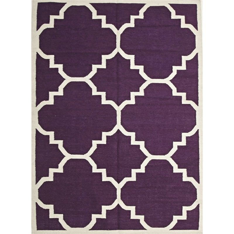 Nomad Hand Knotted Weave Moroccan Design Woolen Rug in Aubergine - 280x190cm