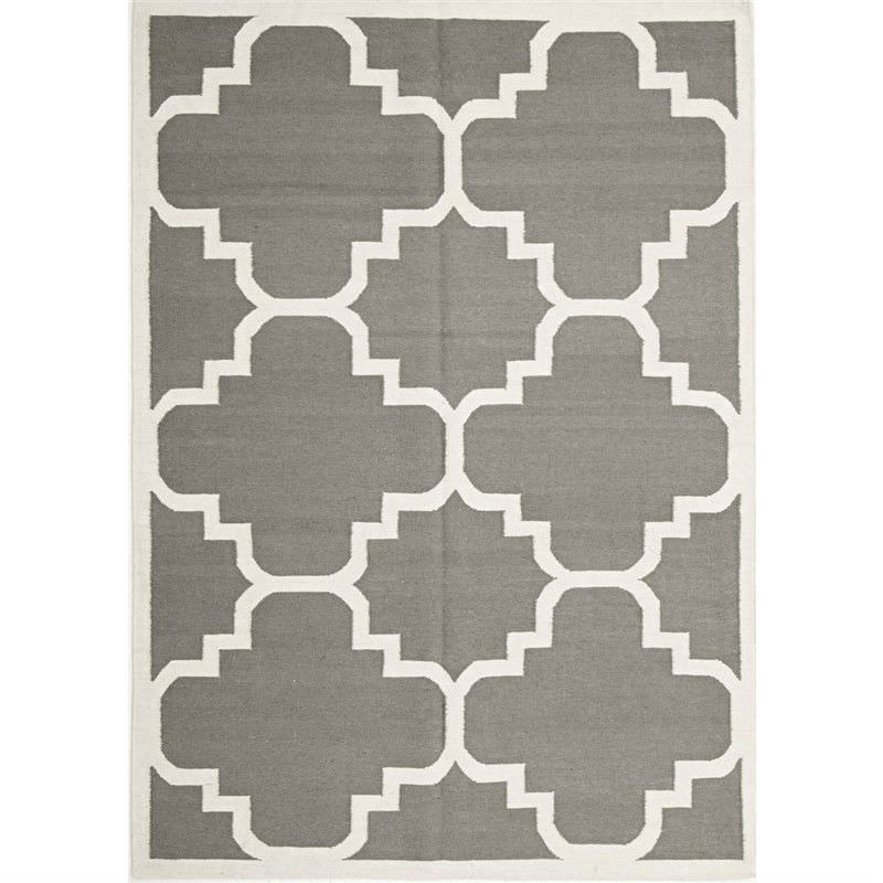 Nomad Hand Knotted Weave Moroccan Design Woolen Rug in Grey - 280x190cm