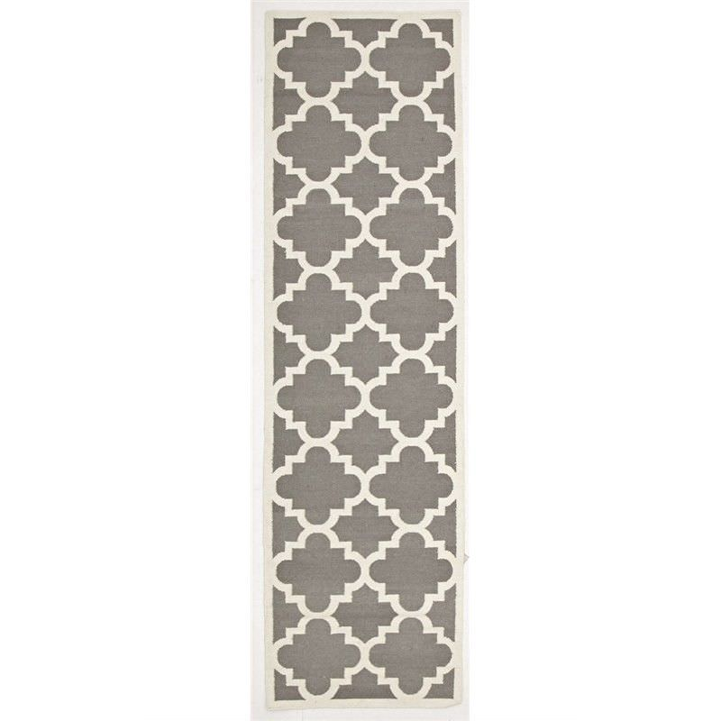 Nomad Hand Knotted Weave Moroccan Design Woolen Rug Runner in Grey - 400x80cm