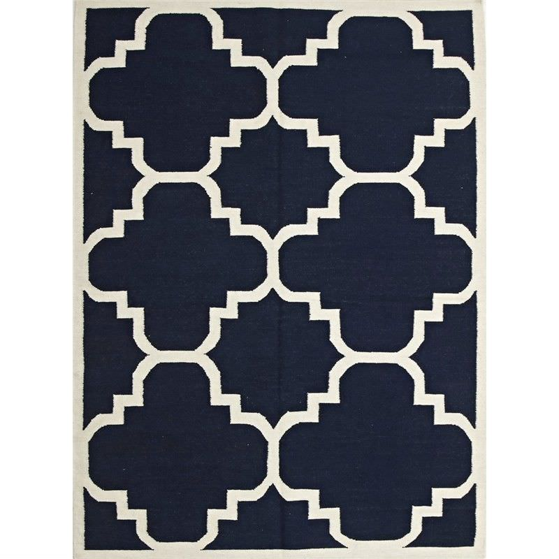 Nomad Hand Knotted Weave Moroccan Design Woolen Rug in Navy - 225x155cm