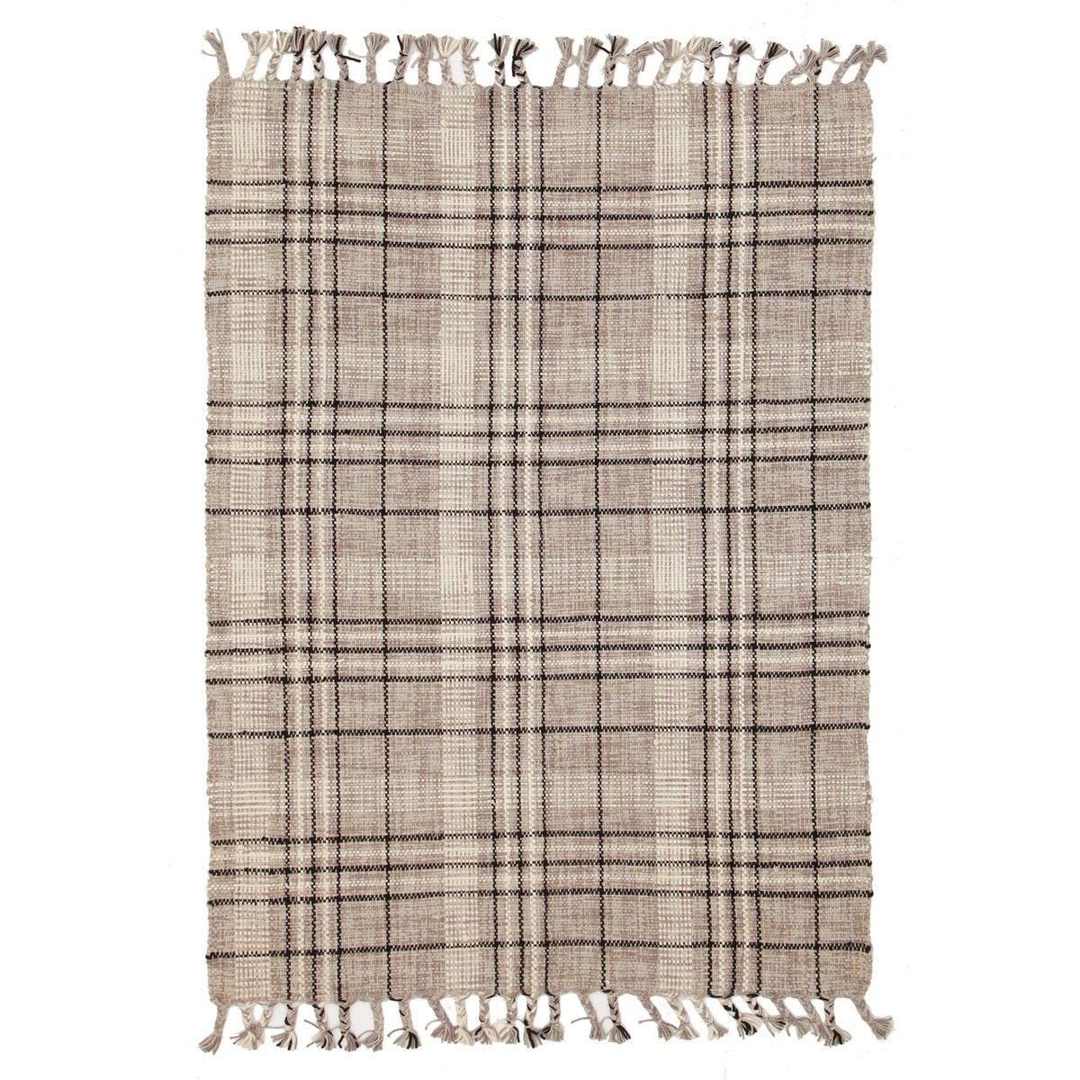 Nordic Lattice Cotton Rug, 225x155cm