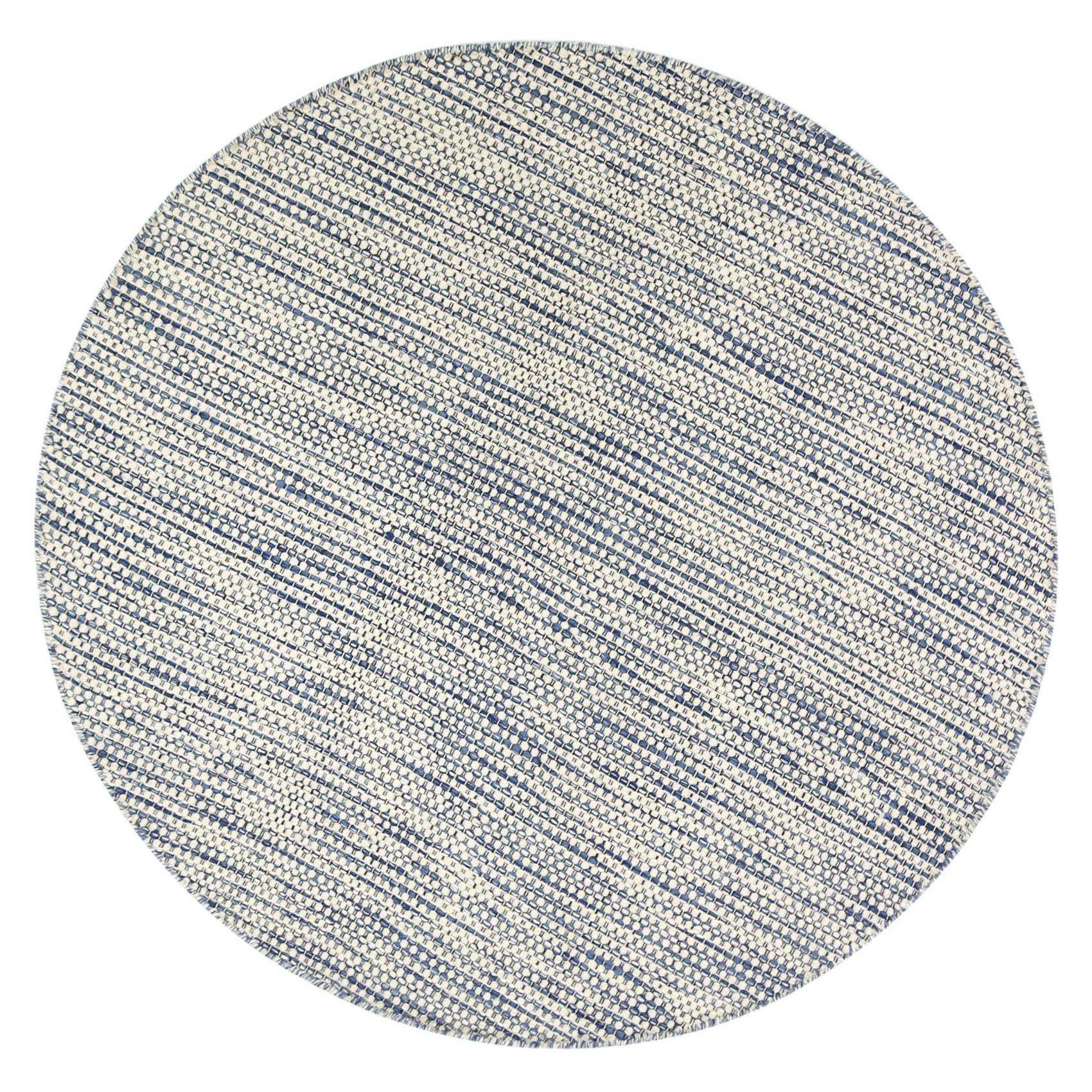 Scandi Reversible Wool Round Rug, 240cm, Blue