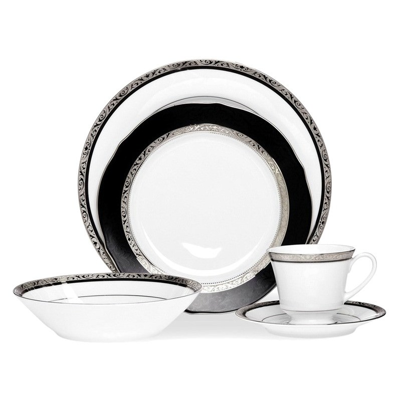 Noritake Regent Platinum Fine China 20 Piece Dinner Set