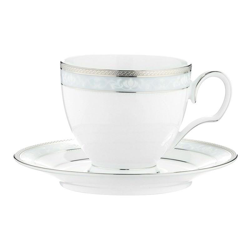 Noritake Hampshire Platinum Fine China Teacup with Saucer Set