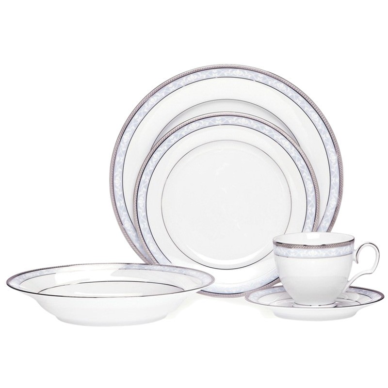 Noritake Hampshire Platinum Fine China 20 Piece Dinner Set