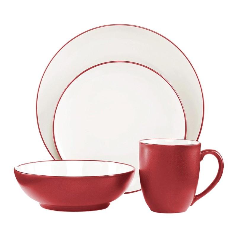 Noritake Colorwave Raspberry 16 Piece Coupe Dinner Set