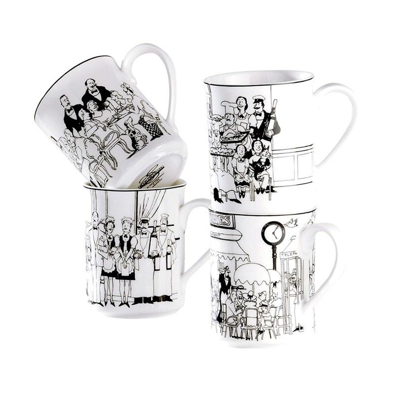 Noritake Le Restaurant  Set of 4 Fine China Mugs