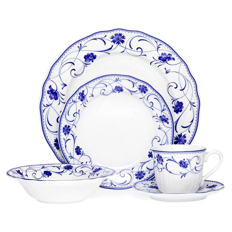 Noritake Rhapsody Blue Porcelain 20 Piece Dinner Set