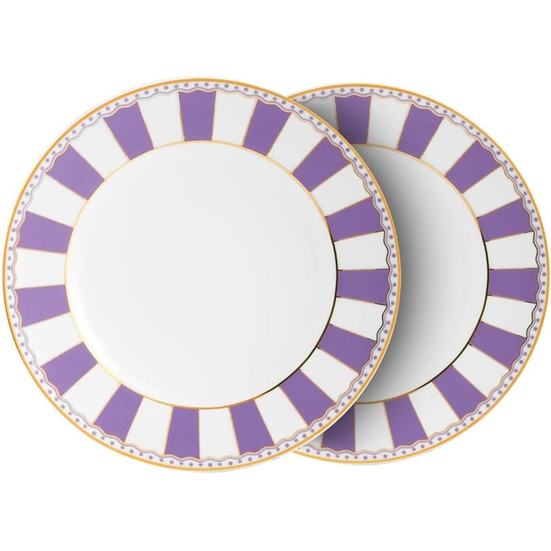 Noritake Carnivale Set of 2 Fine China Cake Plates - Lavender