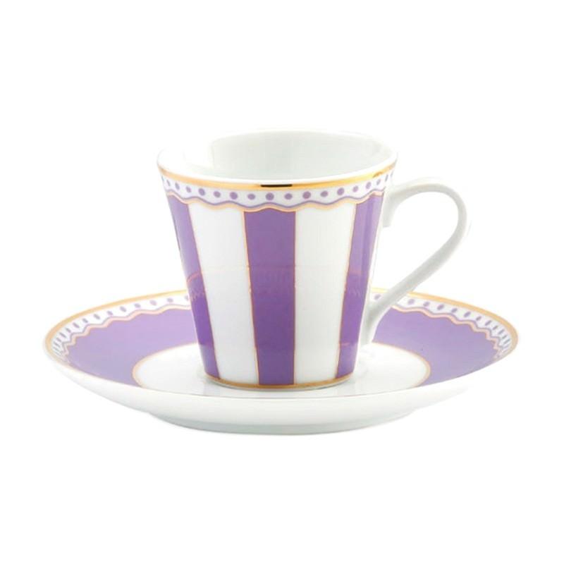 Noritake Carnivale Fine China Espresso Cup and Saucer Set - Lavender