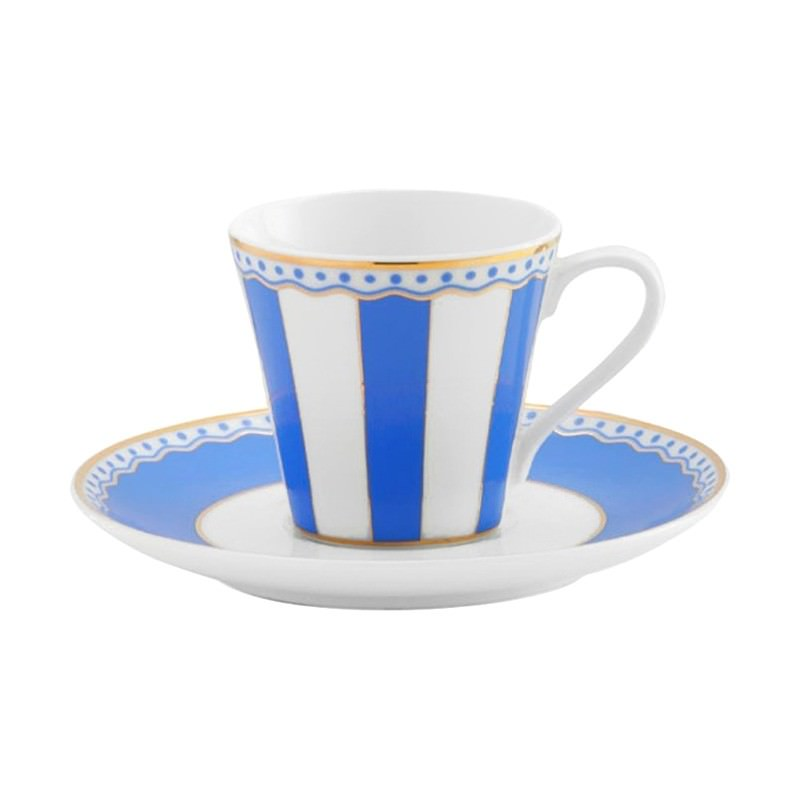 Noritake Carnivale Fine China Espresso Cup and Saucer Set - Dark Blue