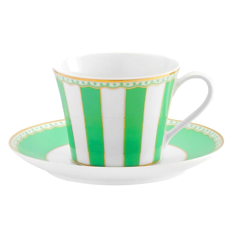 Noritake Carnivale Fine China Cup and Saucer Set - Apple Green