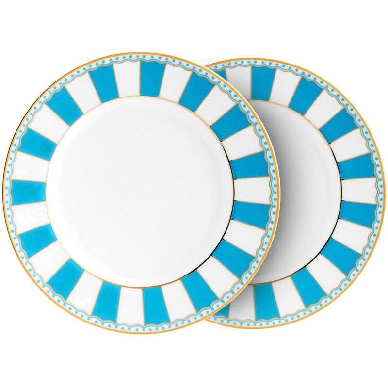 Noritake Carnivale Set of 2 Fine China Cake Plates - Light Blue