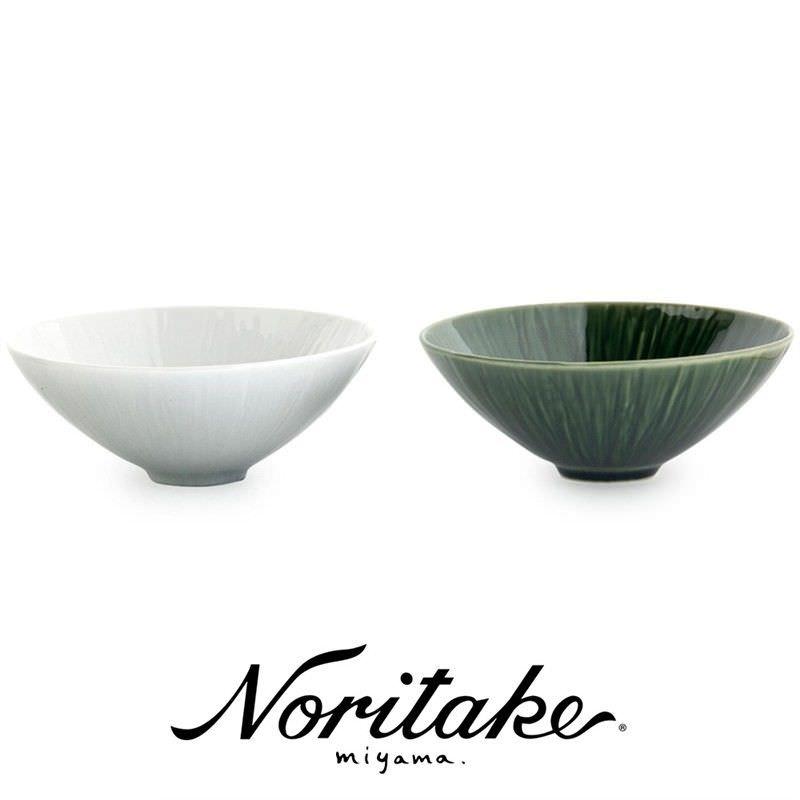 Miyama Crease Green and White Fine China Bowl Set