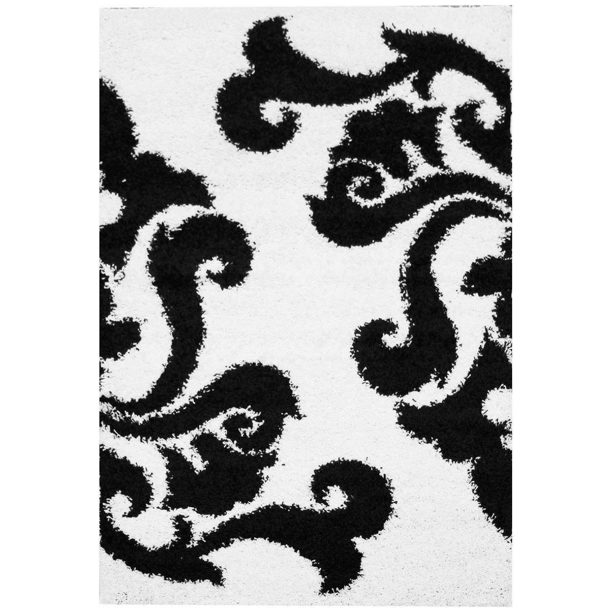 Notes Damask II Turkish Made Shag Rug, 150x80cm, White
