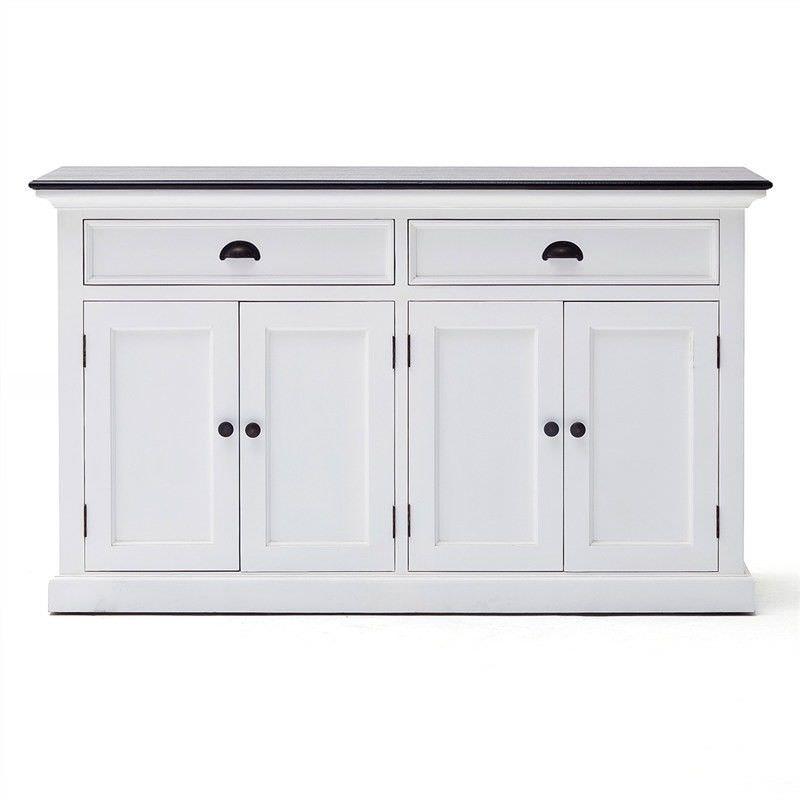 Scotia Contrast Black Top Solid Mahogany Timber 4 Door 2 Drawer 145cm Buffet Table